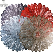 Tabletex 38cm Ronde Dining Servies <span class=keywords><strong>Pad</strong></span> Hollow Out Flower Isolatie Decoratieve Metallic Placemat PVC Coaster Pads Kom Mat