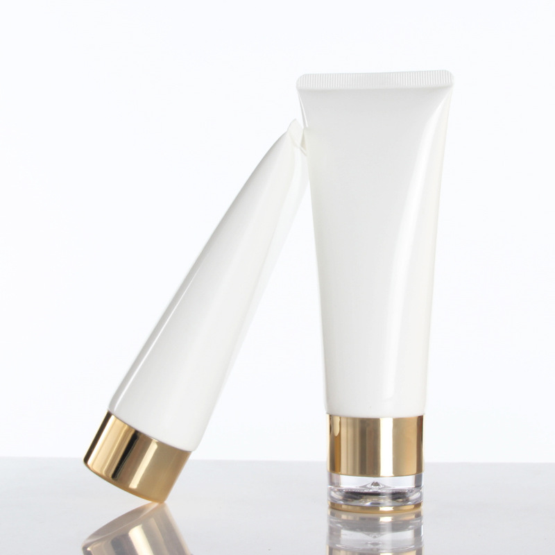 Pearl White 100ml Refillable Plastic Cosmetic Soft Shampoo Tube