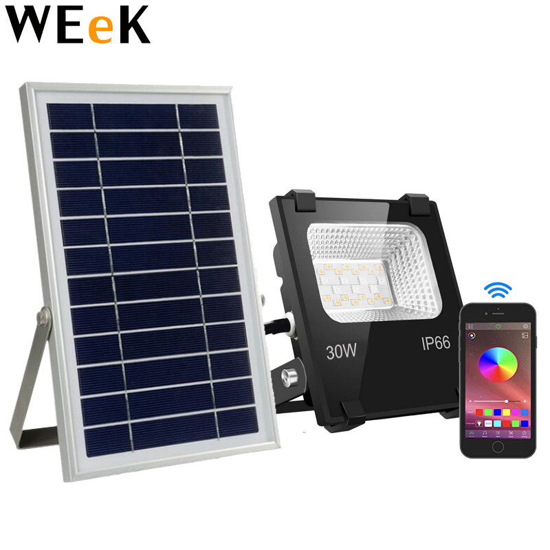 LED Flood Light Solar Power Bluetooth APP Control for iOS and Android Color Changing with Music Floodlights for Home Garden
