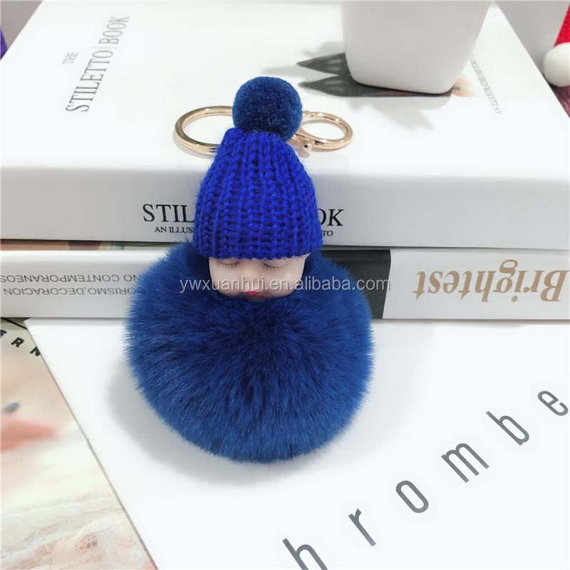 חמוד תינוק השערות תליון בפלאש בובת מפתח טבעת מיני תיק keychain