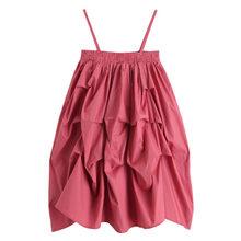 [DEAT] женское Плиссированное однотонное сексуальное платье на подтяжках, новое свободное платье без бретелек без рукавов, весна-лето 2020 13S050(Китай)