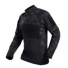 Спортивная хлопковая эластичная футболка, тактическая быстросохнущая рубашка с длинным рукавом- (MCBK) XXL(Китай)