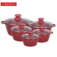 Cooklover 10 Pcs Die Casting Aluminium Non Stick Marble Coating <span class=keywords><strong>Peralatan</strong></span> <span class=keywords><strong>Masak</strong></span> <span class=keywords><strong>Set</strong></span>