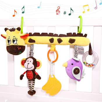 rattle teether animal plush crib mobile baby bed hanging toy