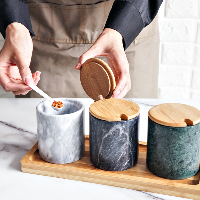 Factory direct natural marble stone kitchen storage container spice canister jar with lid