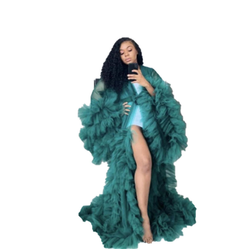 Factory Tulle Ruffles Black Long Kimono Tiered Ruched A-line Prom Gowns Puffy Sleeves African Cape Cloak Sexy Lingerie
