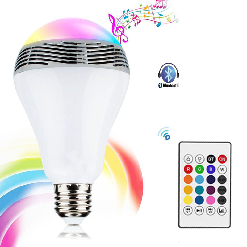 Intelligent RGB Bluetooth Music Bulb LED Colorful Bluetooth Speaker Bulb E27 Wireless with Remote Control Smart Bulb Lamp