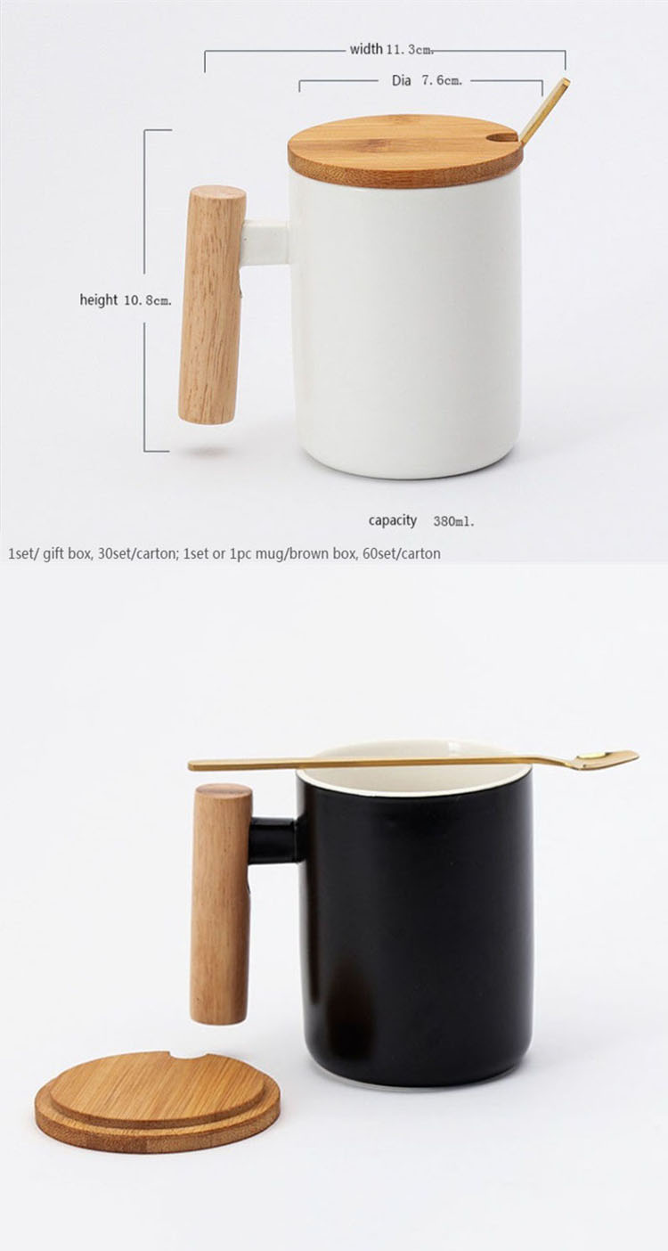 Hot sale gift porcelain mug, bamboo lid ceramic cup with lid and spoon, wooden handle ceramic coffee mug