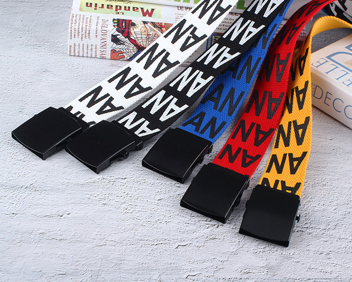 Nylon canvas belt wild fashion unisex student belt creative letter AN belt custom factory direct sales