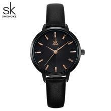 Shengke Женские Классические черные кварцевые часы, Дамский кожаный ремешок для часов, высокое качество, повседневные водонепроницаемые наруч...(China)