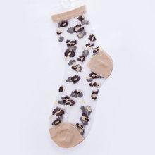 Сексуальные Прозрачные шелковые носки с кристаллами, женские леопардовые модные повседневные японские уличные носки Харадзюку С животным ...(Китай)