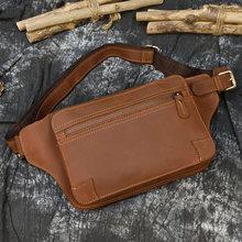 MAHEU 2020 винтажная поясная сумка для мужчин и женщин, дизайнерские поясные сумки из воловьей кожи, Сумка через плечо Crazy Horse, маленькая Спортивн...(Китай)