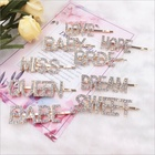 Hot-selling Gold Letter Hair Pins Crystal Alloy Wedding Hair Accessories Custom Hair Clip with Words