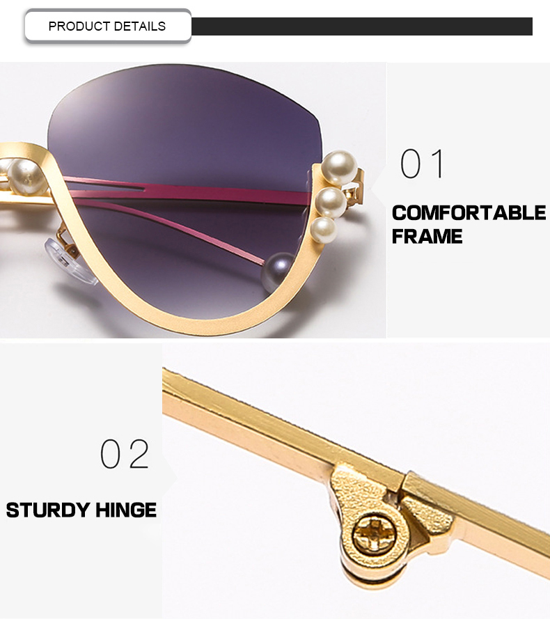 Fuqian gold rim sunglasses for womens ask online for sport-7