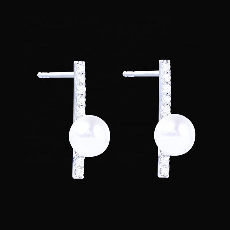 A01 สินค้าใหม่ 2019 โลโก้ที่กำหนดเองแฟชั่นเครื่องประดับเพชรต่างหูไข่มุก
