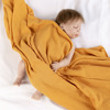 Stock lot soft crinkly texture eco muslin 100% cotton newborn baby swaddle blanket