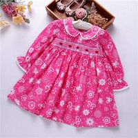 baby smocked clothing girls flower dresses flower long sleeve fall floral kids clothes handmade wholesale boutiques 548