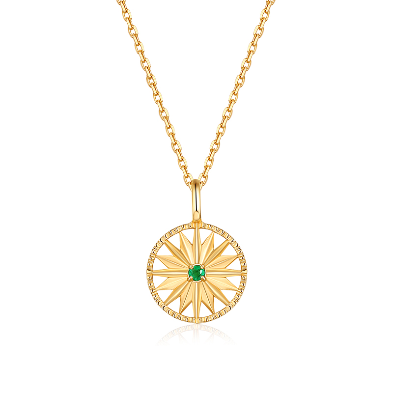 Wholesale fashion jewellery gold plated 925 silver <strong>emerald</strong> round plain star disc <strong>pendant</strong>