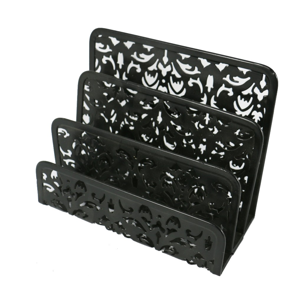 Amazon Hot Sale Wholesale 3 Compartments Sorter Sections Metal Punched Free Pattern Envelope Letter Holder