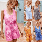 lady clothing plus size romper jumpsuit casual one piece sleeveless tie dye short jumpsuit women
