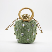 Hot Selling Vintage rhinestones bucket crossbody handmade woven women's tote rattan beach summer round straw bags