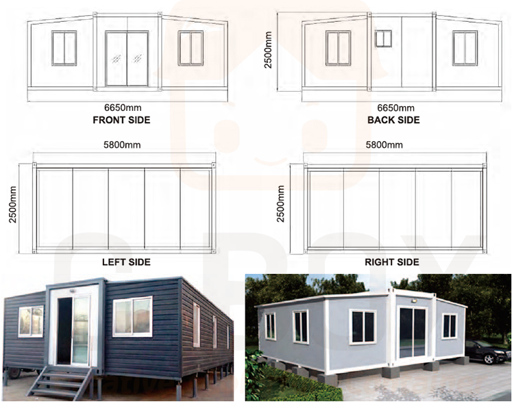 Expandable container house size