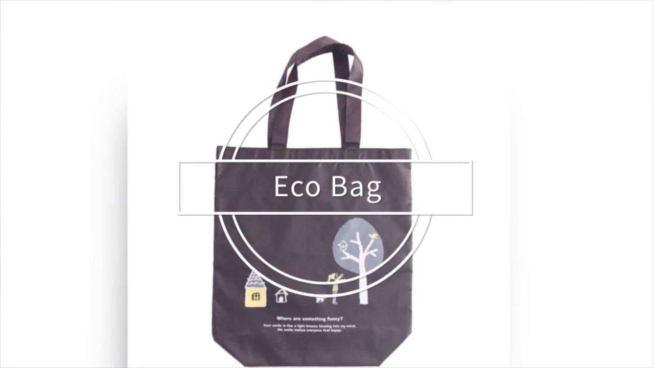 Style japonais OEM Écologique Recyclé Grande Capacité Réutilisable D'impression Naturelle Longue Pliable Sac À Provisions pliable sac