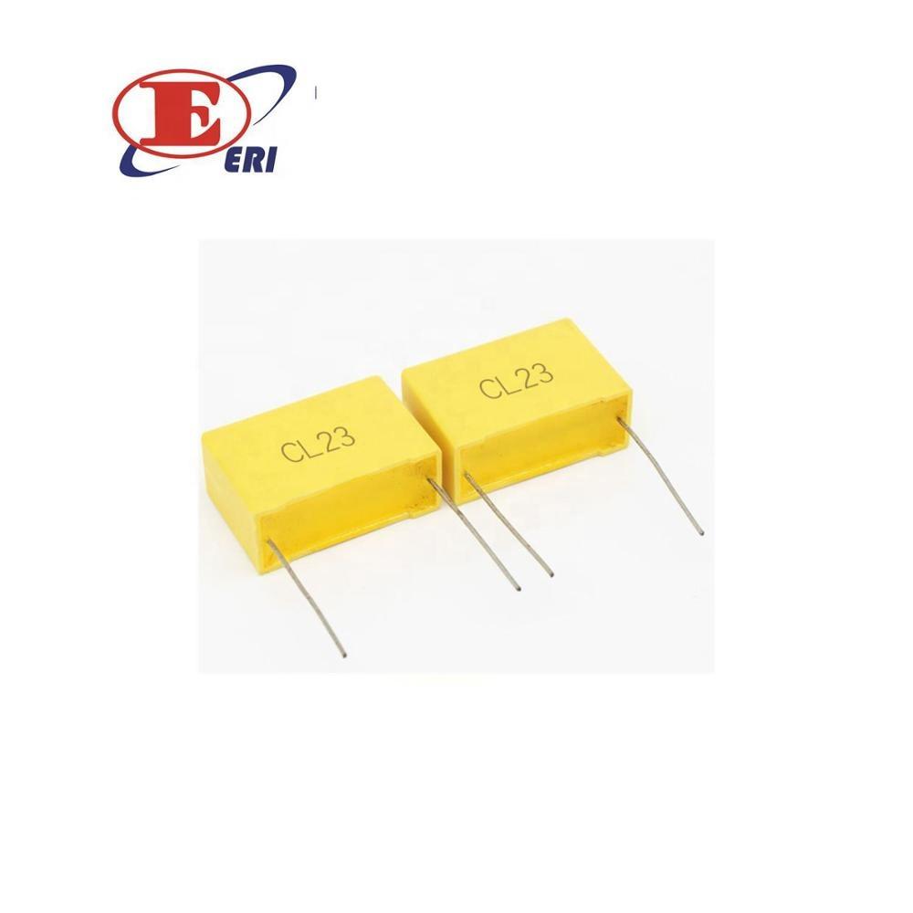 10PCS 100V 154J 150NF Radial Lead Box Type Film Correction capacitors Yellow