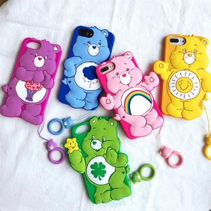 Super Cute 3D sun rainbow bear doll ring buckle high quality silicone cover for iphone 11Pro MAX XS XR 6 7 8 plus X phone cases