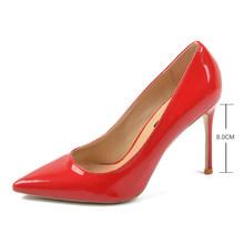 Donna-in/кожаные туфли на тонком высоком каблуке; Женские туфли-лодочки; Пикантные Летние свадебные модельные туфли с острым носком; Большие ра...(China)