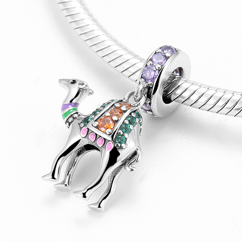 Real 925 sterling silver the ship of the desert Camel with crystal zircon fine Pendant for Bracelets jewelry Wholesale jewelry