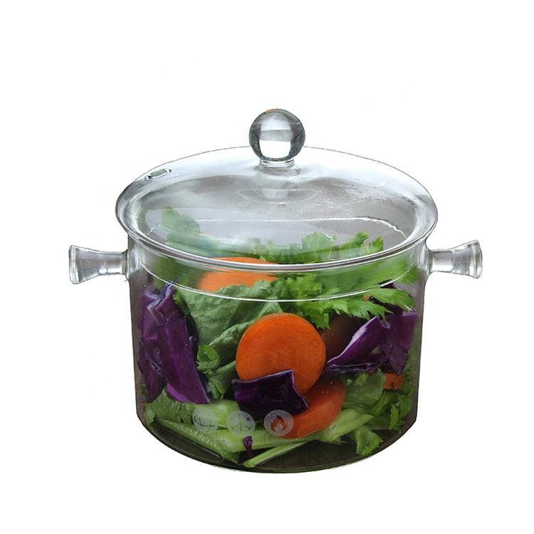 Cocina de vidrio de 1000ml olla de cocina transparente doble orejas