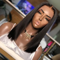 natural silly straight short bob hair full lace wig brazilian hair wigs human hair lace front wigs for black women