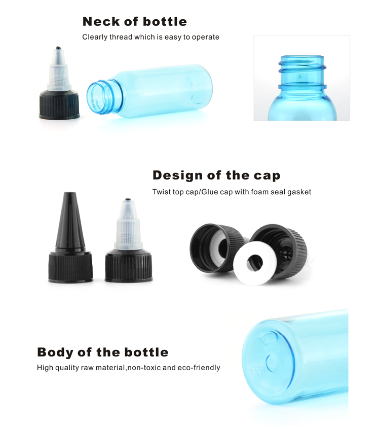 100 ml pet plastic squirt beverage bottles with twist on cap