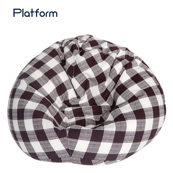 Easy carry bean plaid sofa hot sale filling cute outdoor bean bag
