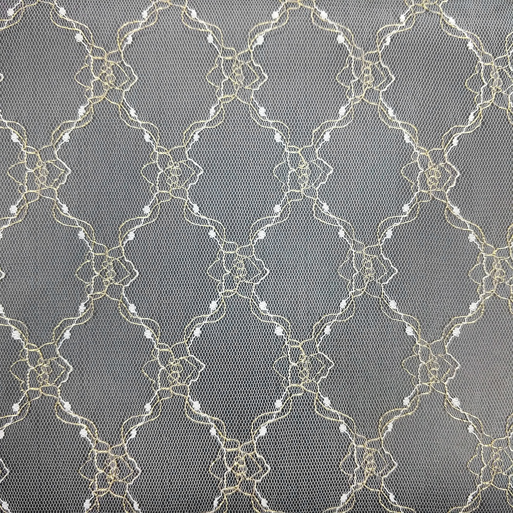 Popular nylon gold wire jacquard net mesh fabric, noble fashion wedding dress jacquard mesh fabric, mosquito jacquard net fabric