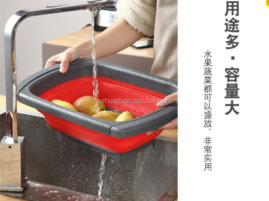 Chinese Folding Strainer Colander Strainer Over The Sink Vegetable/Fruit Colander Collapsible Silicone