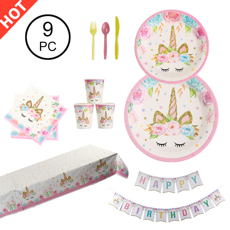wholesale 9PC custom paper unicorn theme birthday event unicorn party supplies sets