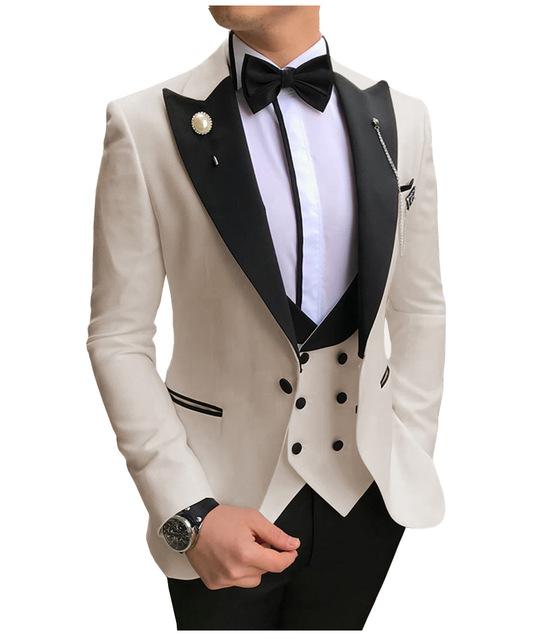 Kustom Slim Fit Pernikahan Setelan Bisnis Blazer Tuksedo 3 Buah Pakaian Pria
