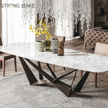 2020 New Rectangular Marble Top And Metal Leg Dining Table Set