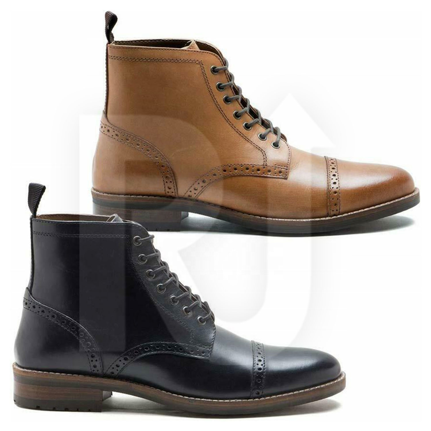 Mens Chelsea Boots Combat Lace up Casual Smart Formal Brogue Shoes UK Size 7-12