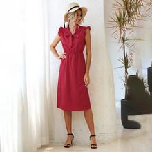 Длинное платье для женщин, элегантное белое платье цветочным и рюшами на рукавах летнее платье средней длины красного цвета ,женская одежда...(Китай)