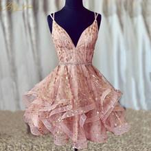 Сверкающие короткие платья для выпускного вечера 2020 Сексуальное Милое блестящее коктейльное платье с перекрещивающимися блестками vestido ...(Китай)