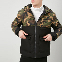 oem high fashion color block printed camouflage puffer jacket for men winter