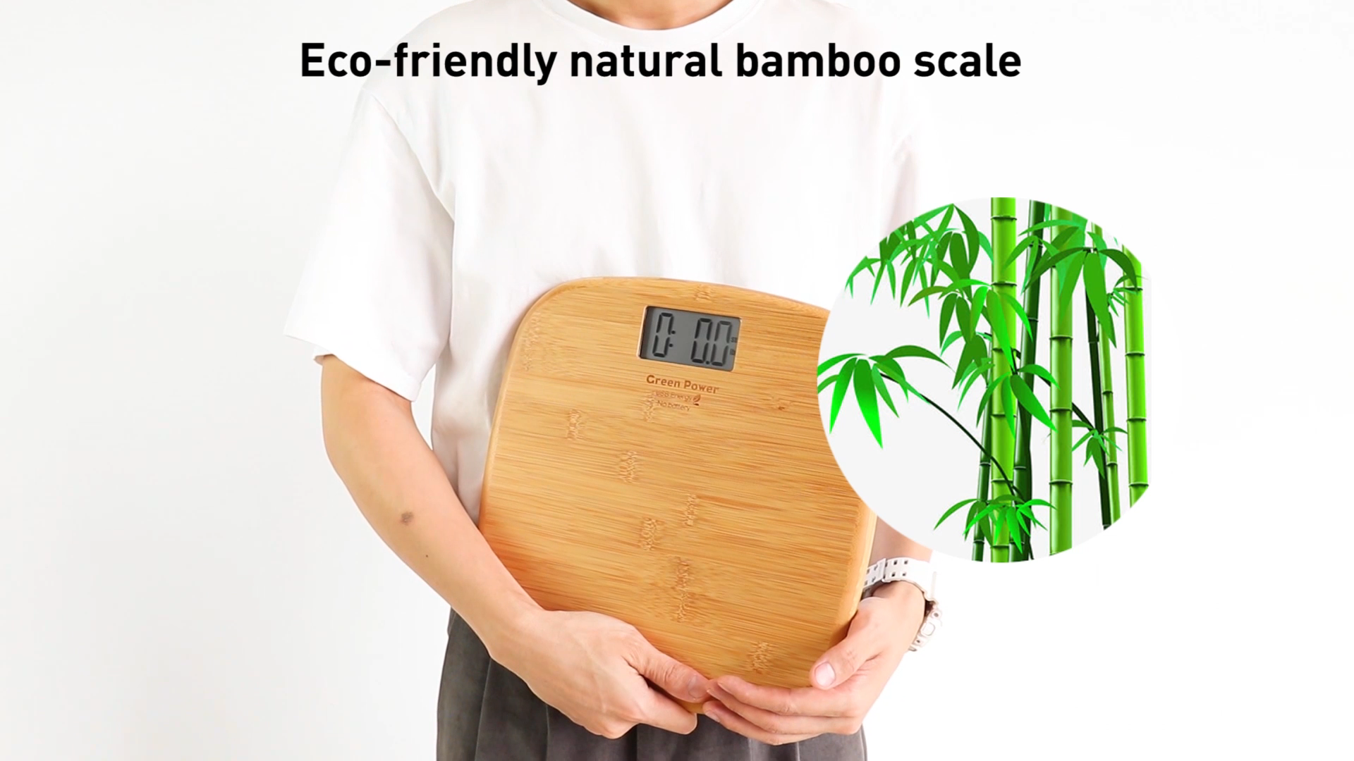 Natural bamboo scale eco-Friendly power USB charging battery free 180kg/400lb/28st max digital household  body scale