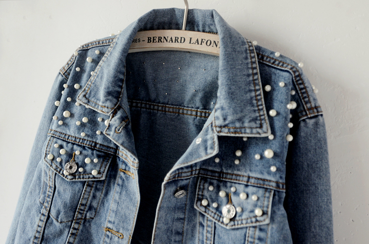 Pearl Beading Denim Jackets Women Wash Bomber jean Jacket With Turn Down Collar
