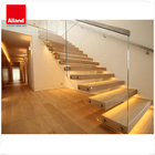 Prefab Modern House Wood Floating Wooden Staircase Frameless Railing Wood Straight Stairs