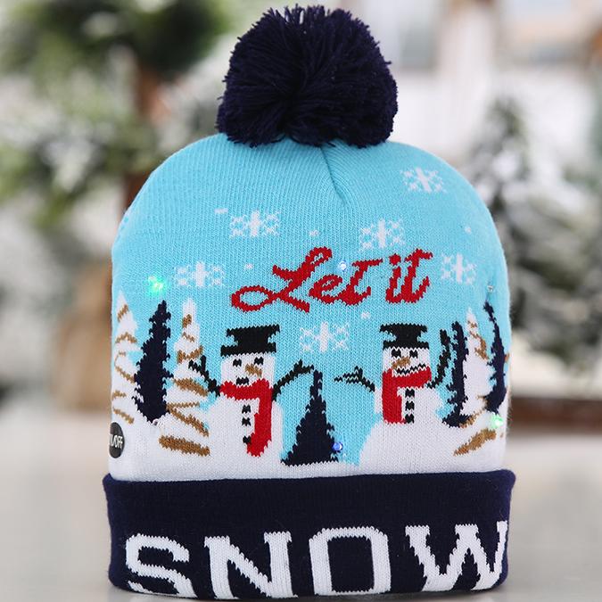새로운 패션 어린이 크리스마스 led beanies 아기 소년 소녀 접힌 크리스마스 모자 산타 모자 성인 겨울 led 크리스마스 모자