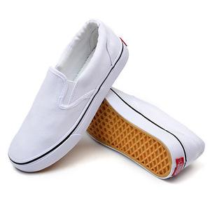 Plain white canvas shoes slip on for men unisex