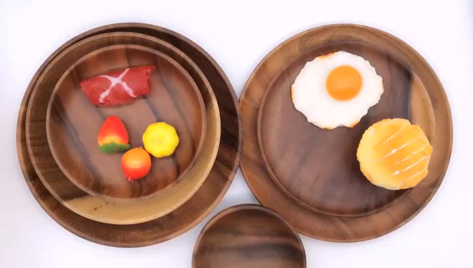 Wholesale Homeware Natural Restaurant Custom Logo Acacia Decorative Food Serving Dinner Wooden Plate